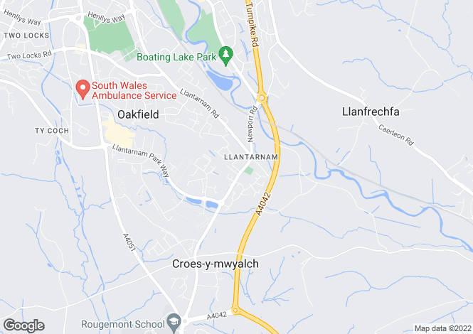 Map for John Fielding Gardens, Llantarnam