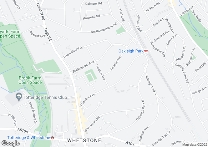 Map for Langton Avenue, Whetstone, London