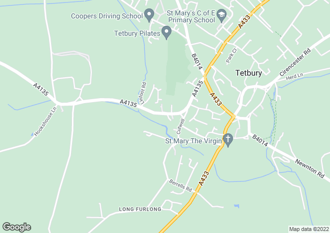 Map for Charlton Road, Tetbury, Gloucestershire