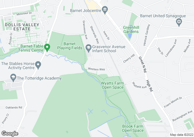 Map for Western Way, BARNET