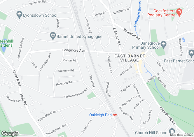 Map for Shurland Avenue, EAST BARNET