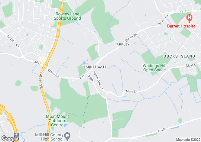 Map for BARNET ROCKWAYS