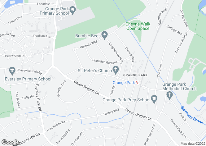 Map for Vera Avenue, Grange Park, London, N21