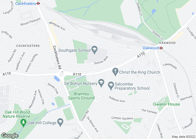 Map for Bramley Road, Southgate, London, N14