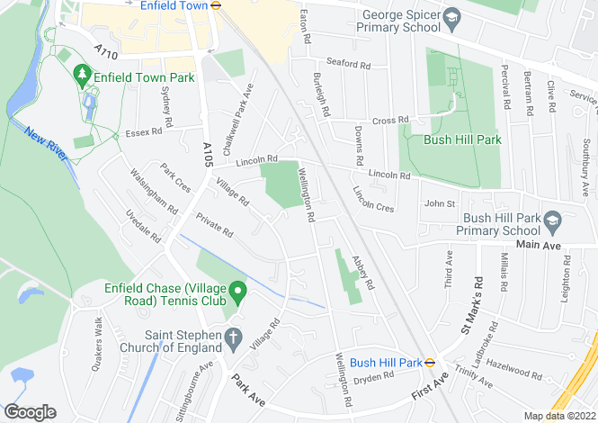Map for Wellington Road, Bush Hill Park, ENFIELD, Middlesex