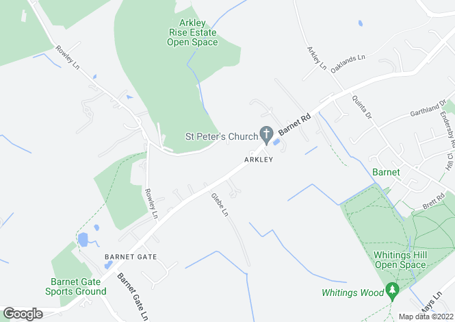 Map for Barnet Road, Arkley