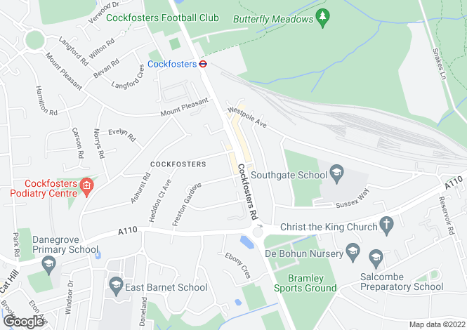 Map for Cockfosters Road, Cockfosters