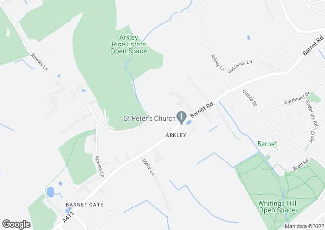 Map for Rowley Green Road, Arkley