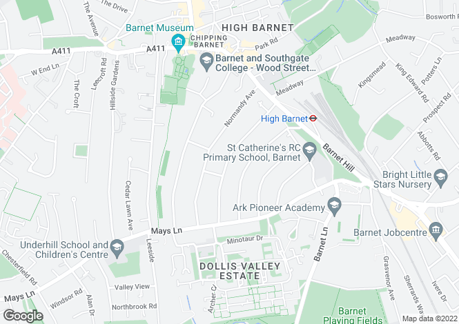 Map for Bedford Avenue Barnet, EN5 2ER