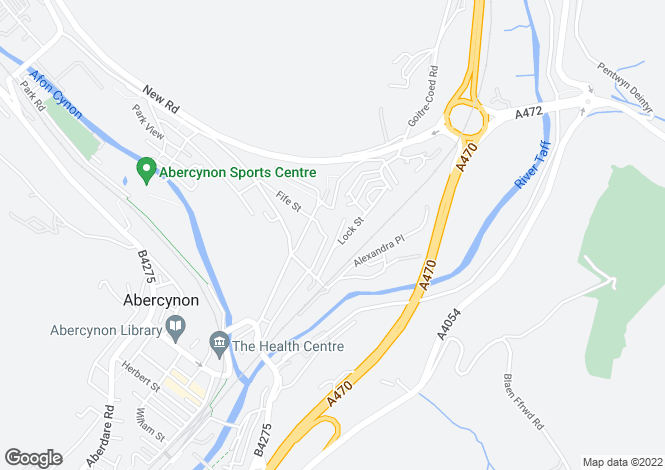 Map for Lock Street, Abercynon