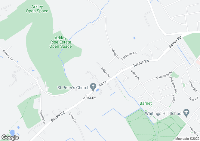 Map for Arkley Drive, Arkley