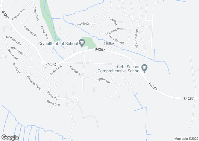 Map for 18 Ravens Court, Cimla, Neath