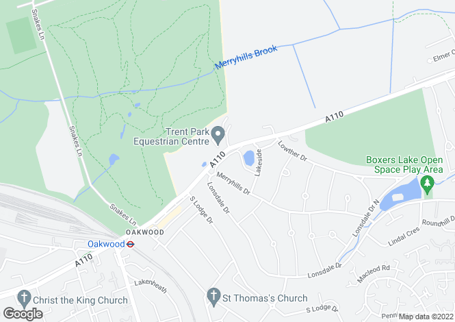 Map for South Lodge Crescent, Oakwood, Middlesex, EN2