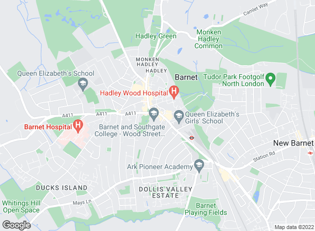 Map for Hunters, Barnet - Lettings