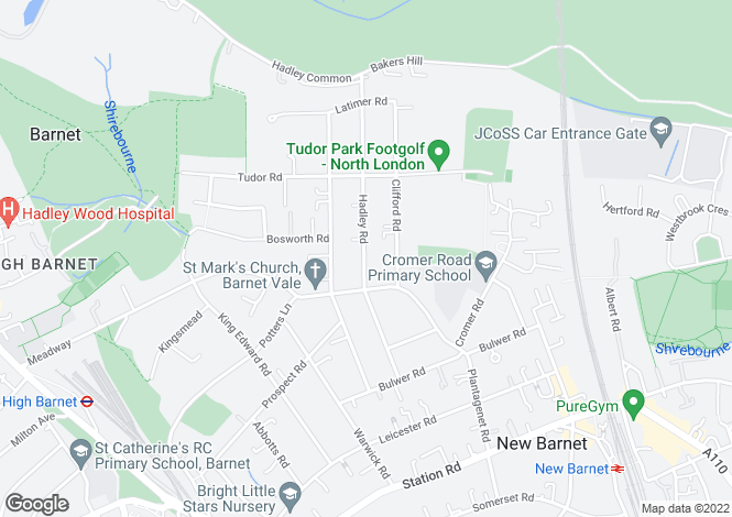 Map for Hadley Road, New Barnet