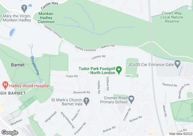 Map for Hadley Road, Barnet, Hertfordshire EN5 5QN