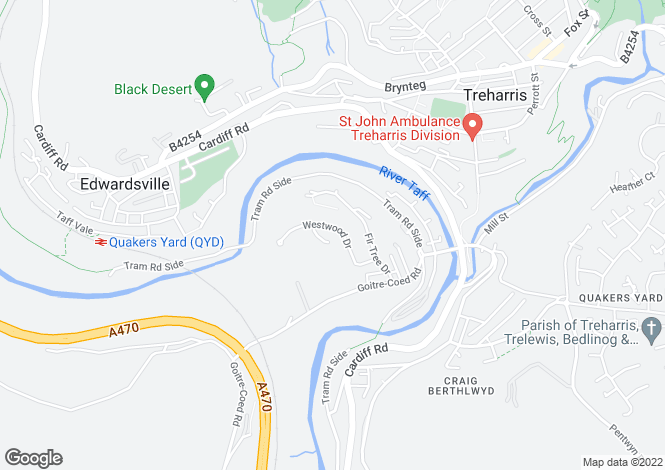 Map for Westwood Drive, Quakers Yard, Treharris, CF46 5BL