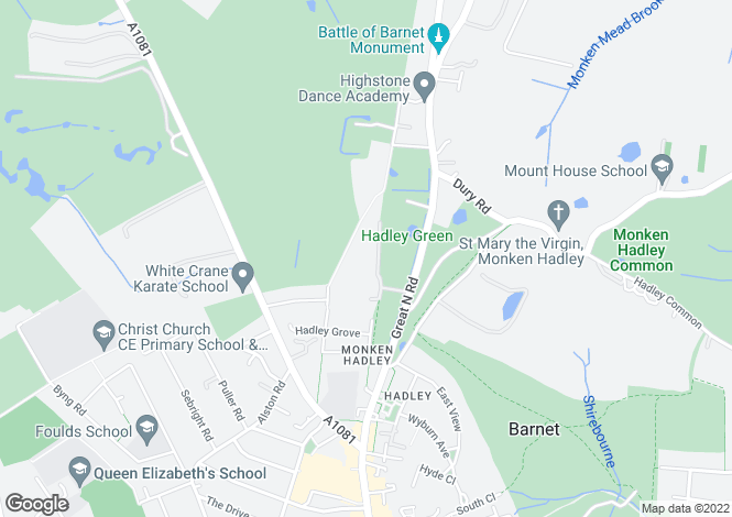 Map for Hadley Green West, Hadley Green