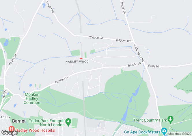 Map for Camlet Way, Hadley Wood