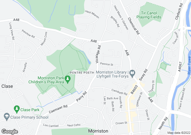 Map for Vicarage Road, Morriston
