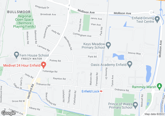 Map for Park Road, Enfield, Middlesex, EN3