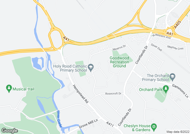 Map for Hopwood Close, Watford, WD17