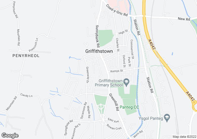 Map for Sunnybank Way, Griffithstown, PONTYPOOL, Torfaen