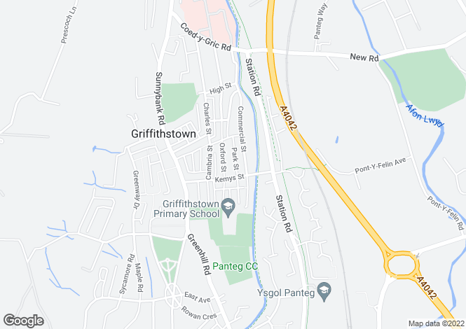 Map for Park Street, Griffithstown, Pontypool