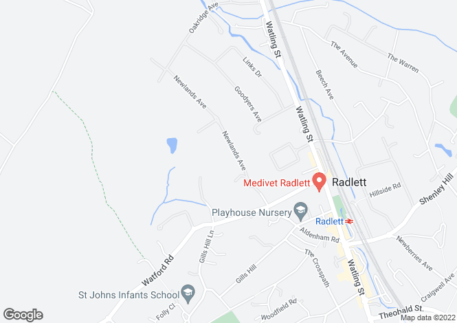Map for Newlands Avenue, Radlett, Hertfordshire WD7 8EH