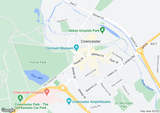 Map for Silver St, Cirencester, Glos