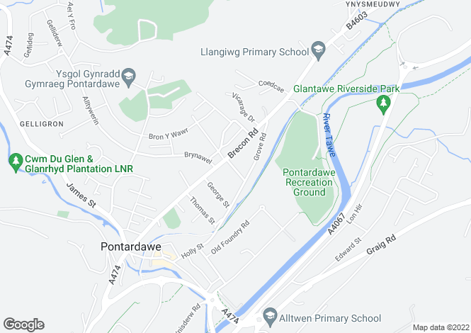 Map for Woodland Road, Pontardawe