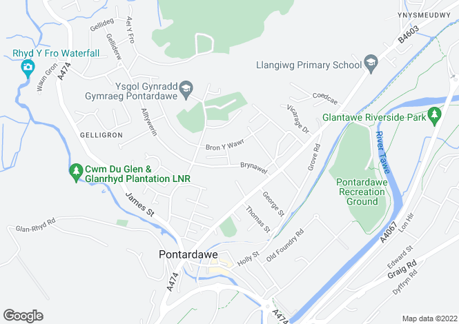Map for 21 Brynawel, Pontardawe, Swansea