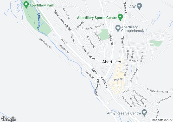 Map for Oak Street, Abertillery