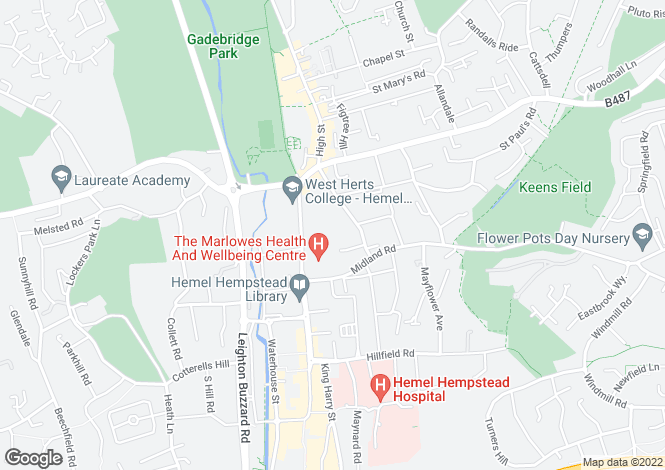 Map for Alexandra Road, Hemel Hempstead, Hertfordshire