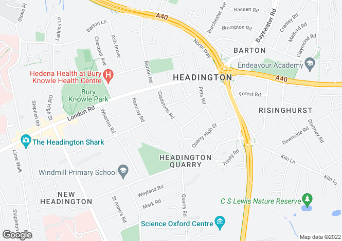 Map for Gladstone Road, Headington Quarry, Oxford