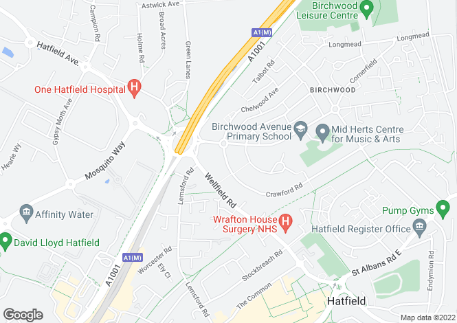 Map for Crawford Road, Hatfield