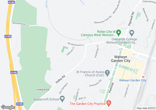 Map for The Valley Green, Welwyn Garden City, Hertfordshire