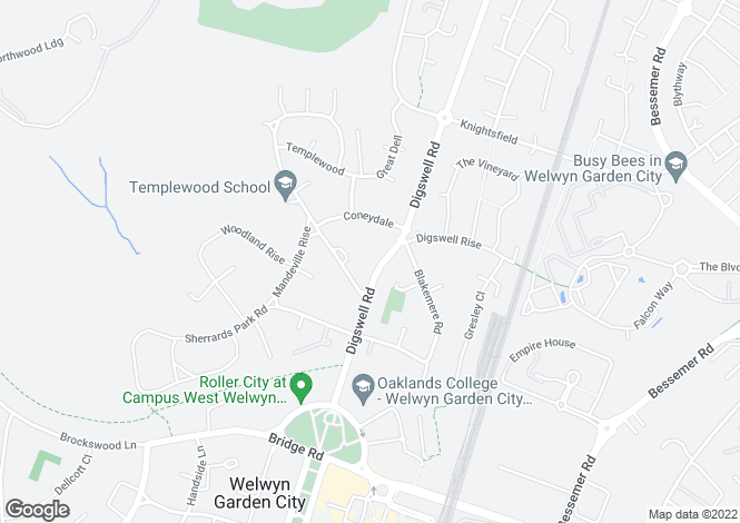 Map for Digswell Road, Welwyn Garden City, Hertfordshire