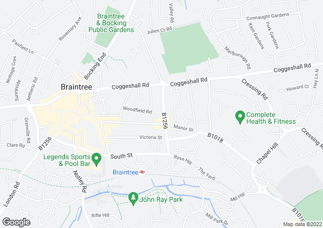Map for Railway Street, Braintree, Essex, CM7 3JD