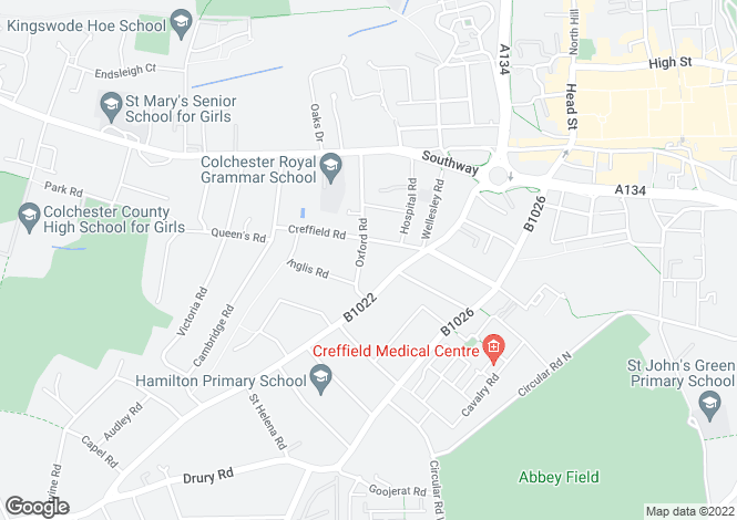 Map for Oxford Court, Oxford Road, Colchester