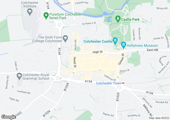 Map for 8, Culver Street West, Colchester, Essex, CO1 1JG