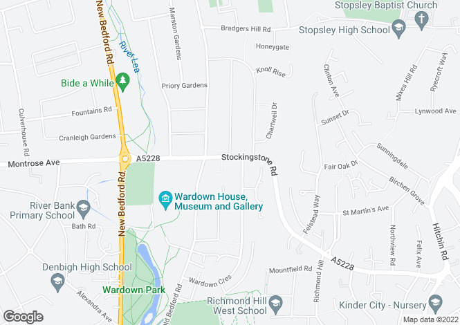 Map for Stockingstone Road, Luton, Bedfordshire, LU2