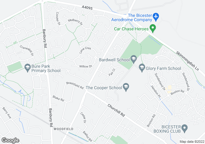 Map for Fair Close, Bicester, Oxfordshire