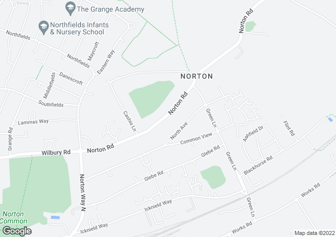 Map for Norton Road, Letchworth G C, Hertfordshire