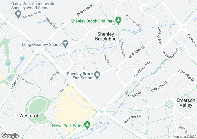 Map for Oxhouse Court, Shenley Brook End, Milton Keynes