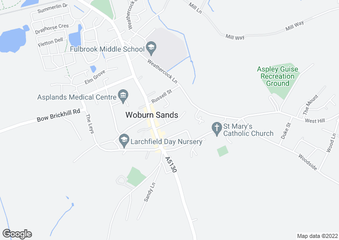 Map for Vicarage Street, Woburn Sands, Milton Keynes
