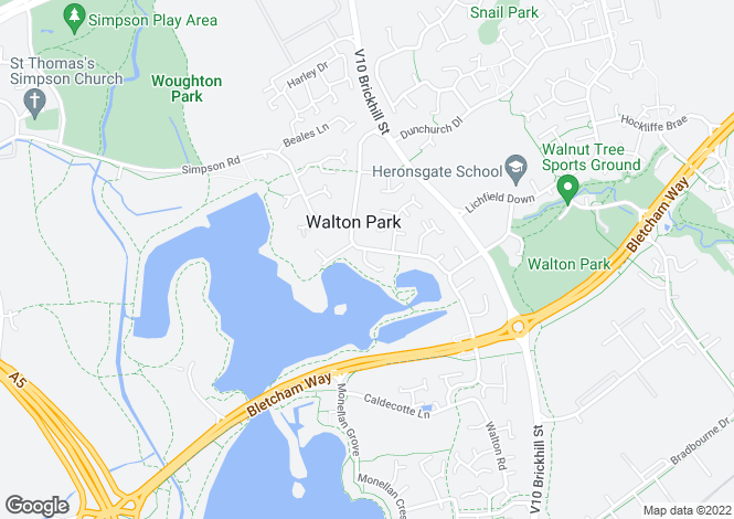 Map for Katherine Close, Walton Park, Milton Keynes