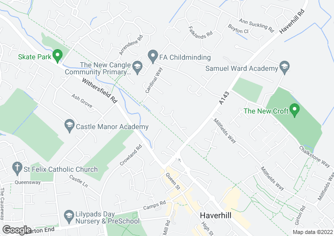 Map for Dovehouse Road, Haverhill