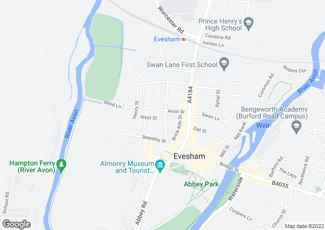 Map for Greengage Avenue, Abbey Fields, Evesham, WR11