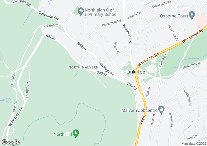 Map for 20 North Malvern Road, North Malvern, Worcestershire